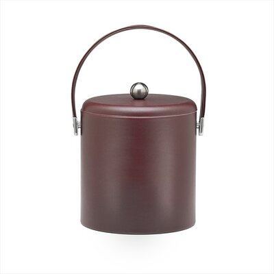 Soho 3 Qt Leatherette Ice Bucket with Chrome Lid in Claret