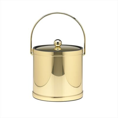 Mylar 3 Qt Ice Bucket with Metal Cover in Polished Brass