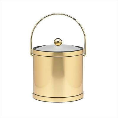 Mylar 3 Qt Ice Bucket with Lucite Cover in Brushed Brass