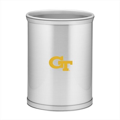 Kraftware Collegiate Georgia Tech Waste Basket in Brushed Chrome