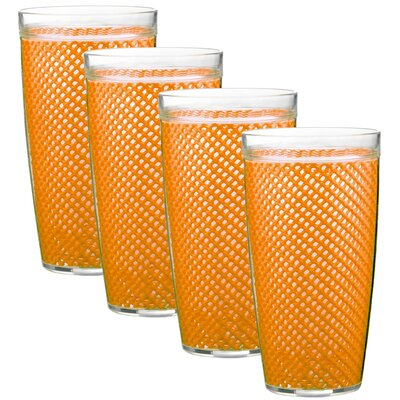 Kraftware Fishnet 24 Oz Double Wall Drinkware (Set of 4)