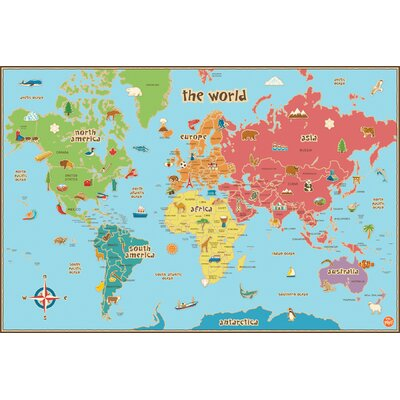 WallPops! Dry Erase Kids World Map Wall Mural