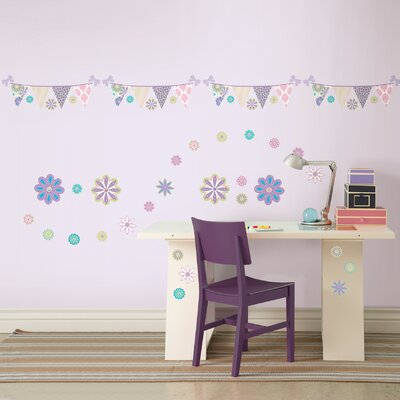 WallPops! Kids Patchwork Daisy Blox and Stripe Wall Decal