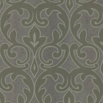 Brewster Home Fashions Salon Outline Damask Foiled Wallpaper