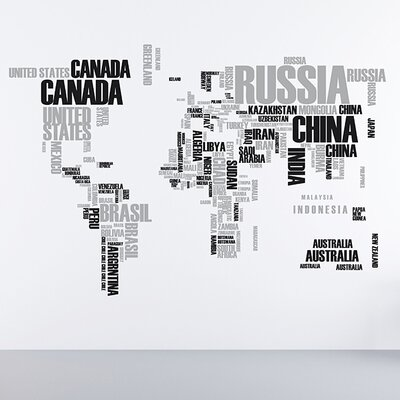 Euro World Map Wall Decal