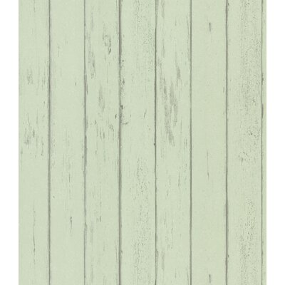 Destinations by the Shore Weathered Wood Plank Wallpaper in Minted Green