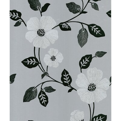 Brewster Home Fashions Ink Veined Floral Wallpaper in Black