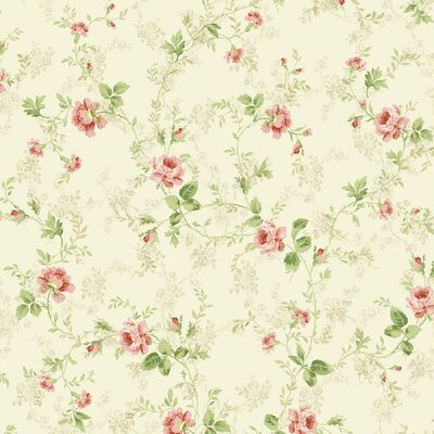 Brewster Home Fashions Willow Cottage Floral Trail Wallpaper in Pink