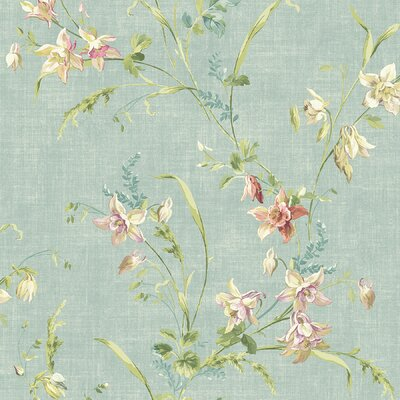 Brewster Home Fashions Willow Cottage Lily Trail Wallpaper in Light Blue