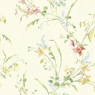Willow Cottage Lily Trail Wallpaper in Egg-Shell White