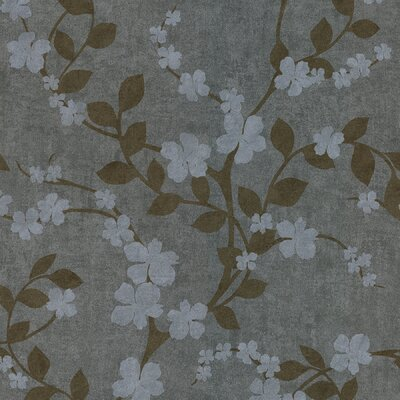 Brewster Home Fashions Salon Floral Trail Wallpaper in Grayed Blue