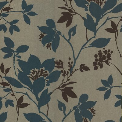 Brewster Home Fashions Salon Open Floral Trail Wallpaper in Turquoise