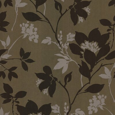 Brewster Home Fashions Salon Open Floral Trail Wallpaper in Brown / Cream