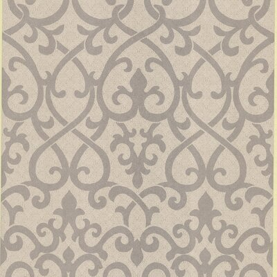 Brewster Home Fashions Serene Ironwork Damask Wallpaper in Silver