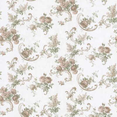 Brewster Home Fashions Satin Rose Rose Scroll Wallpaper