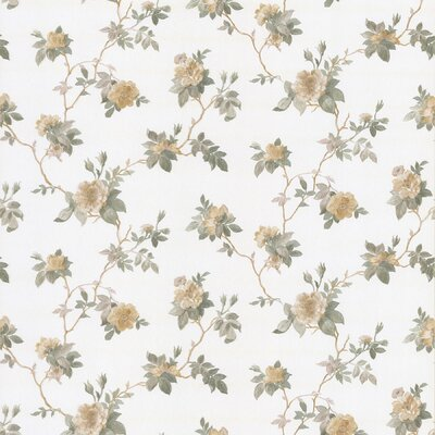 Satin Rose Magnolia Trail Wallpaper in Maize Yellow