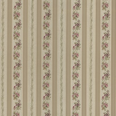 Satin Rose Linen Floral Stripe Wallpaper in Old Gold Tonal Harlequin