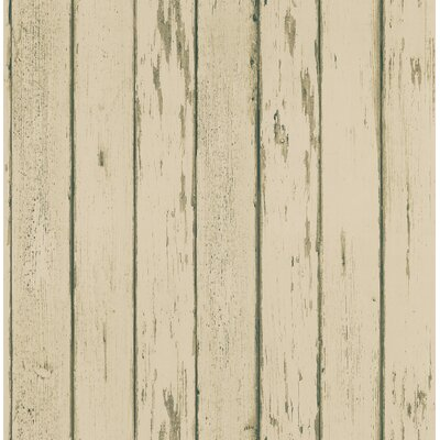 Northwoods Distressed Plank Wallpaper in Creamy Tone