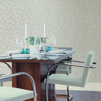 Serene Scroll Wallpaper in Cream / Light Clove Green