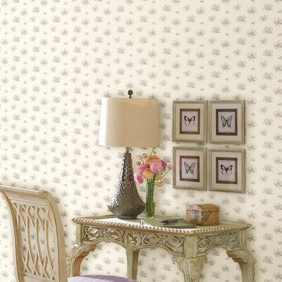 Satin Rose Floral Toss Wallpaper in Pastel