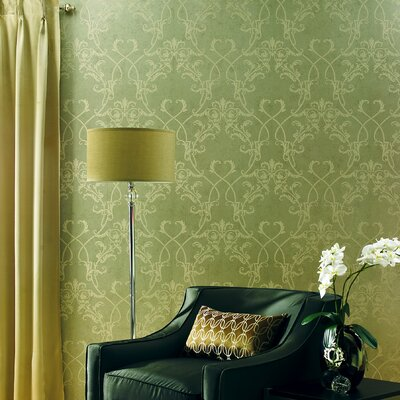 Savoy Nouveau Damask Wallpaper in Cream / Beige
