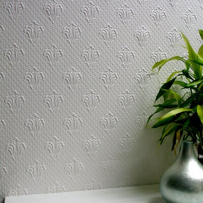 Brewster Home Fashions Anaglypta Paintable Albert Supaglypta Floral Embossed Wallpaper
