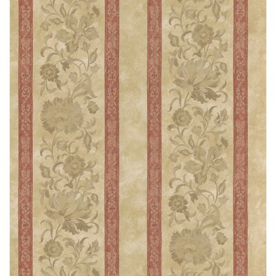 Brewster Home Fashions Stripe Floral Scroll Wallpaper