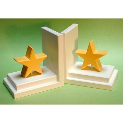 One World Gold Star Bookends with White Base