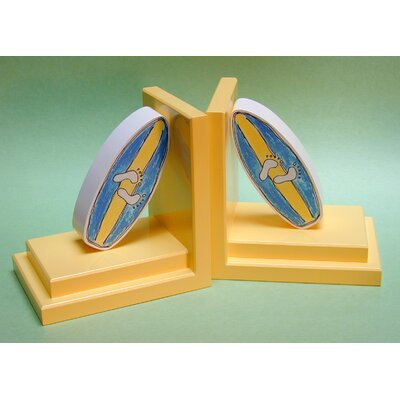 One World Blue Surfboard Bookends with Yellow Base