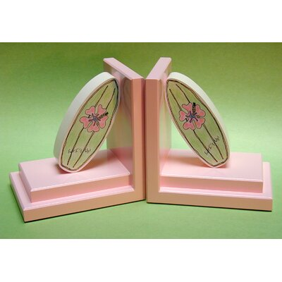 One World Girl Surfboard Bookends with Pink Base