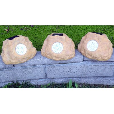 Homebrite Solar Solar Power Jumbo Rock Spot Light (Set of 3)