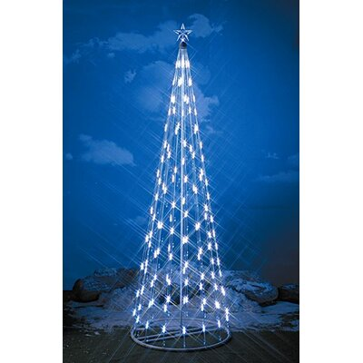Homebrite Solar String Light Christmas Cone Tree in White
