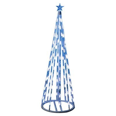 "Homebrite Solar 49"" String Light Christmas Cone Tree in White"