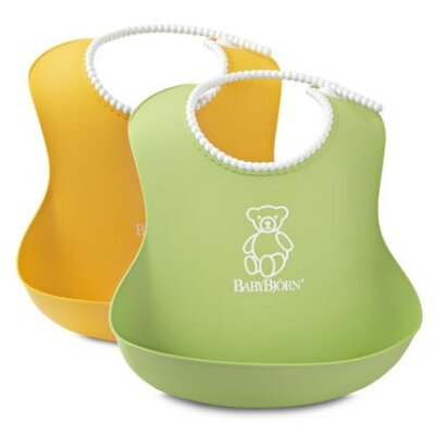 BabyBjorn Soft Bib Two Pack in Sunflower Yellow and Spring Green