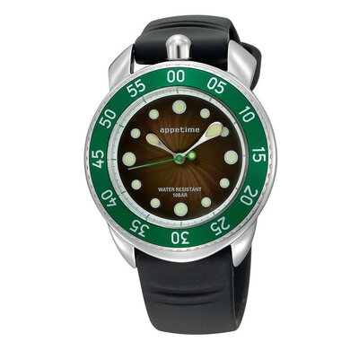 Appetime Ripplio Watch with Black Band and Green Bezel