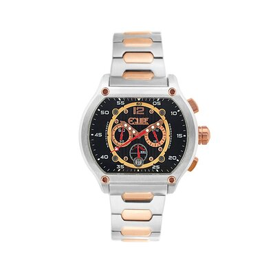Dash Men's Watch with Silver / Rose Gold Band and Black Dial