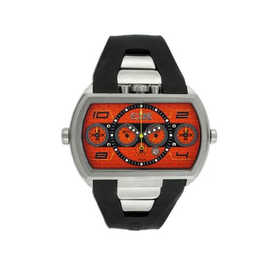 Dash XXL Men's Watch with Silver Case and Orange Dial