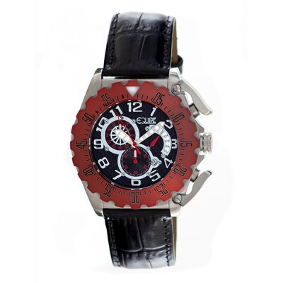 Paddle Men's Watch with Silver Case and Red Bezel