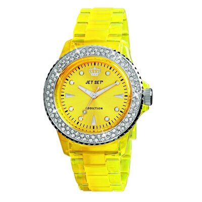 Jet Set Addiction Ladies Watch in Polished Yellow with Silver Bezel