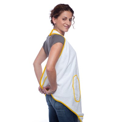 maamam aacua 4 in 1 Bath Towel with Yellow Trim in White