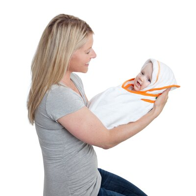 maamam aacua 4 in 1 Bath Towel with Orange Trim in White
