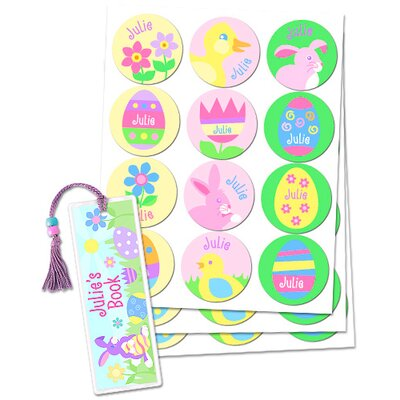 Easter Girls Personalized Sticker and Bookmark Pack (Set of 24)