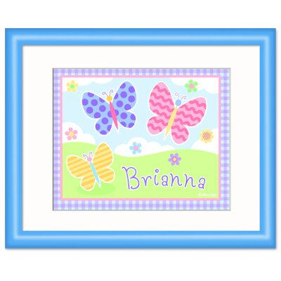Butterfly Garden Personalized Print with Blue Frame