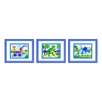 Olive Kids Dinosaur Land Framed Print (Set of 3)