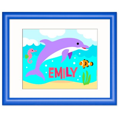Ocean Dolphin Personalized Wood Print