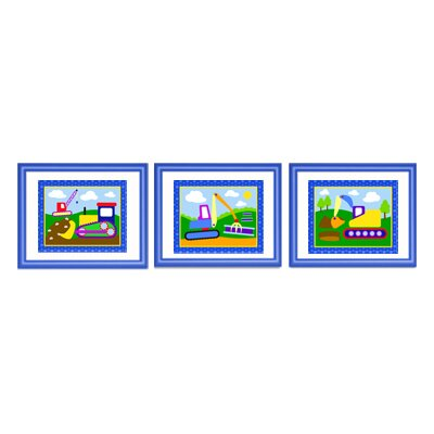 Olive Kids Under Construction Framed Print (Set of 3)
