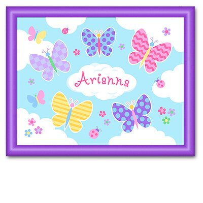Butterfly Garden Large Personalized Print with Purple Frame