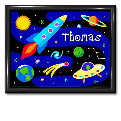 Olive Kids Out of This World Personalized Print with Gloss Black Frame
