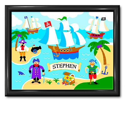 Olive Kids Pirates Personalized Print with Gloss Black Frame