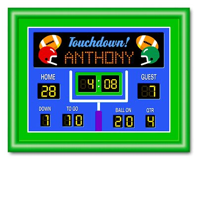 Olive Kids Game On Football Personalized Print with Green Frame
